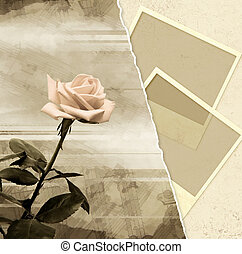 Grunge background with rose and photoframes