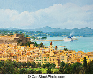 Memories of Corfu - An oil painting on canvas of a beautiful...