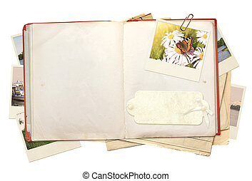 Memories - Old book and photos. Objects isolated over white