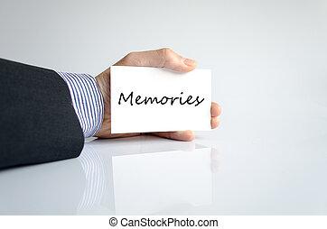 Memories text concept