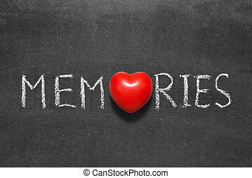 memories word handwritten on chalkboard with heart symbol...