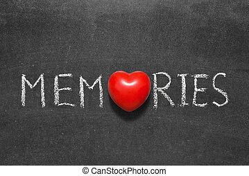 memories word handwritten on chalkboard with heart symbol instead of O