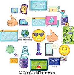 Memory array icons set, cartoon style