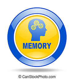 memory blue and yellow web glossy round icon