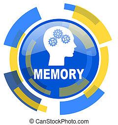 memory blue yellow glossy web icon