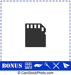 Memory card icon flat