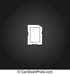 Memory card icon flat