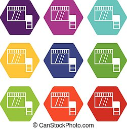 Memory card icon set color hexahedron