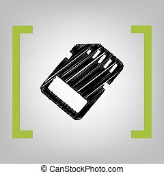 Memory card sign. Vector. Black scribble icon in citron brackets on grayish background.