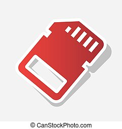 Memory card sign. Vector. New year reddish icon with outside stroke and gray shadow on light gray background.