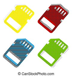 Memory card sign. Vector. Yellow, red, blue, green icons with th