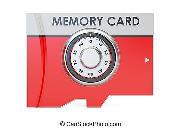 memory card with safe combination dial lock, 3D rendering