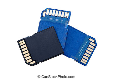 Memory cards isolated on white background. - Memory cards...