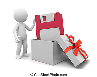 Memory disk - a 3d person taking a memory disk from a gift...