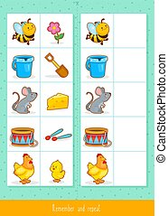Memory game for kids - Educational children game, vector....