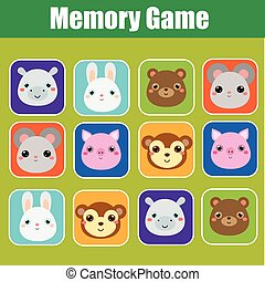 Memory game for toddlers. Educational children, kids activity with cute animals faces