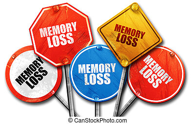 memory loss, 3D rendering, rough street sign collection