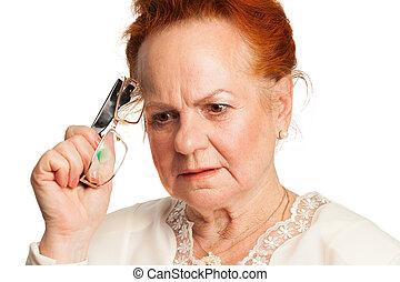 Memory loss - Senior woman forgot something very important