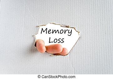 Memory loss text concept