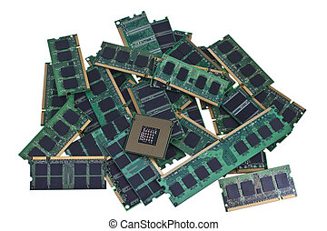 Memory modules and a modern CPU - Many different computer...