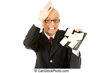 Memory notes - a businessman holding his tablet covered with...