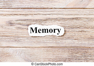 memory of the word on paper. concept. Words of memory on a wooden background