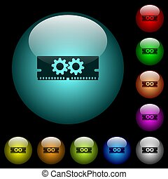 Memory optimization icons in color illuminated glass buttons...