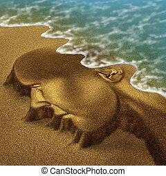 Memory problems due to Dementia and Alzheimer's disease as a medical health care aging concept with a head and brain sculpted from sand on the beach with the ocean washing the function away with the tide.