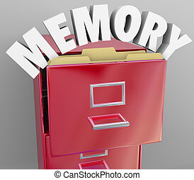 Recalling memories by pulling files from a filing cabinet, an illustration or symbol of the brain's ability to store and retrieve memory like documents from an organized set of experiences
