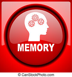 memory red icon plastic glossy button