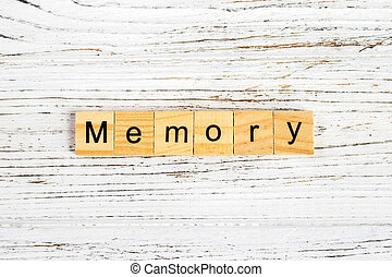 MEMORY word made with wooden blocks concept