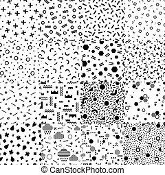 memphis, abstrakcyjny, komplet, style., seamless, wzory