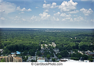 Memphis Aerial East - A view toward the East of the city of...