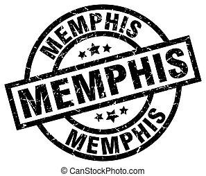 Memphis black round grunge stamp
