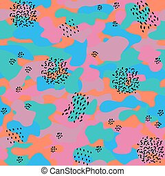 Memphis camouflage seamless pattern in a orange, blue, violet, green and pink colors.