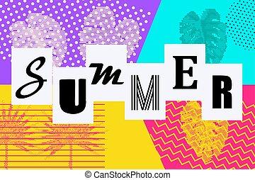 memphis, estilo, plano de fondo, taponazo, verano, arte
