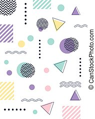 memphis forms fashion 80s 90s style abstract white seamless pattern