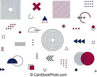 Memphis geometric design elements. Retro 80-90s trends funky designs, universal geometric shapes set, constructivism memphis print symbols collection