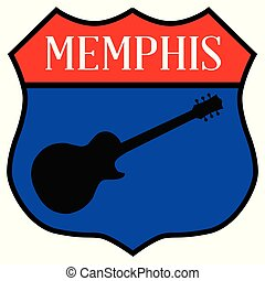 Route style traffic sign with the legend Memphis and guitar silhouette