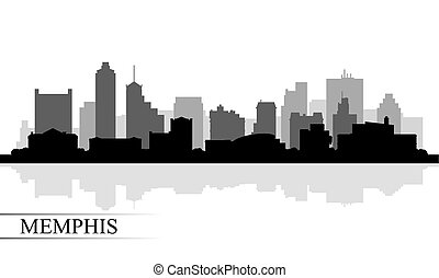 memphis, horizon ville, silhouette, fond