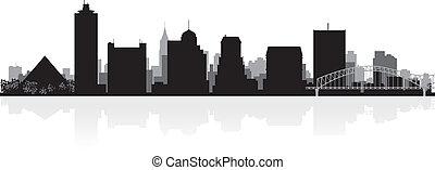 memphis, horizon ville, silhouette