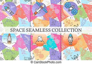 memphis, komplet, patterns., seamless, przestrzeń