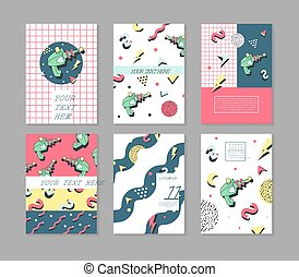 Memphis Posters Set Space Theme. Hipster Abstract Trendy Backgrounds with Geometric Shapes. 80 -90s Fashion Cards, Brochures. Vector illustration