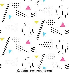 Memphis retro 80s seamless pattern. Checkered lines,...