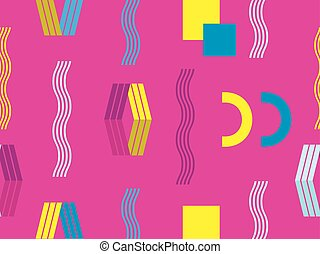 memphis, seamless, pattern., abstratos, geomã©´ricas, fundo,...