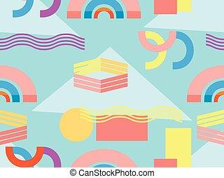 memphis, seamless, pattern., abstratos, geomã©´ricas, fundo,...