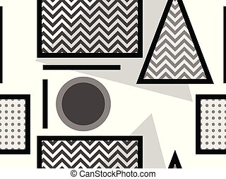 Memphis seamless pattern, black and white geometric shapes in the style of 80s. Points and dotted lines. Vector illustration