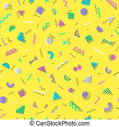 Memphis seamless pattern consisting of different color shapes on yellow background. Colorful geometric seamless pattern. Trendy memphis style. Hipster memphis style. Vector Illustration