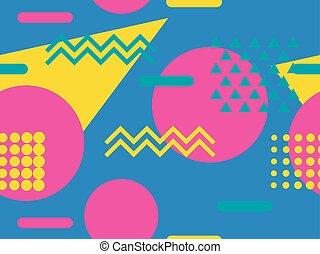 memphis, seamless, pattern., geomã©´ricas, elementos,...