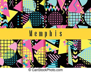 Memphis seamless pattern. Geometric elements memphis in the...